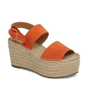 MarcFisher Orange Espadrille Platform Wedge Sandal